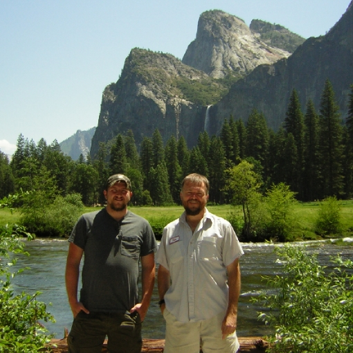 Patrick on the left, Brett on the right. Standing in front of Yosemites El Capitan.
